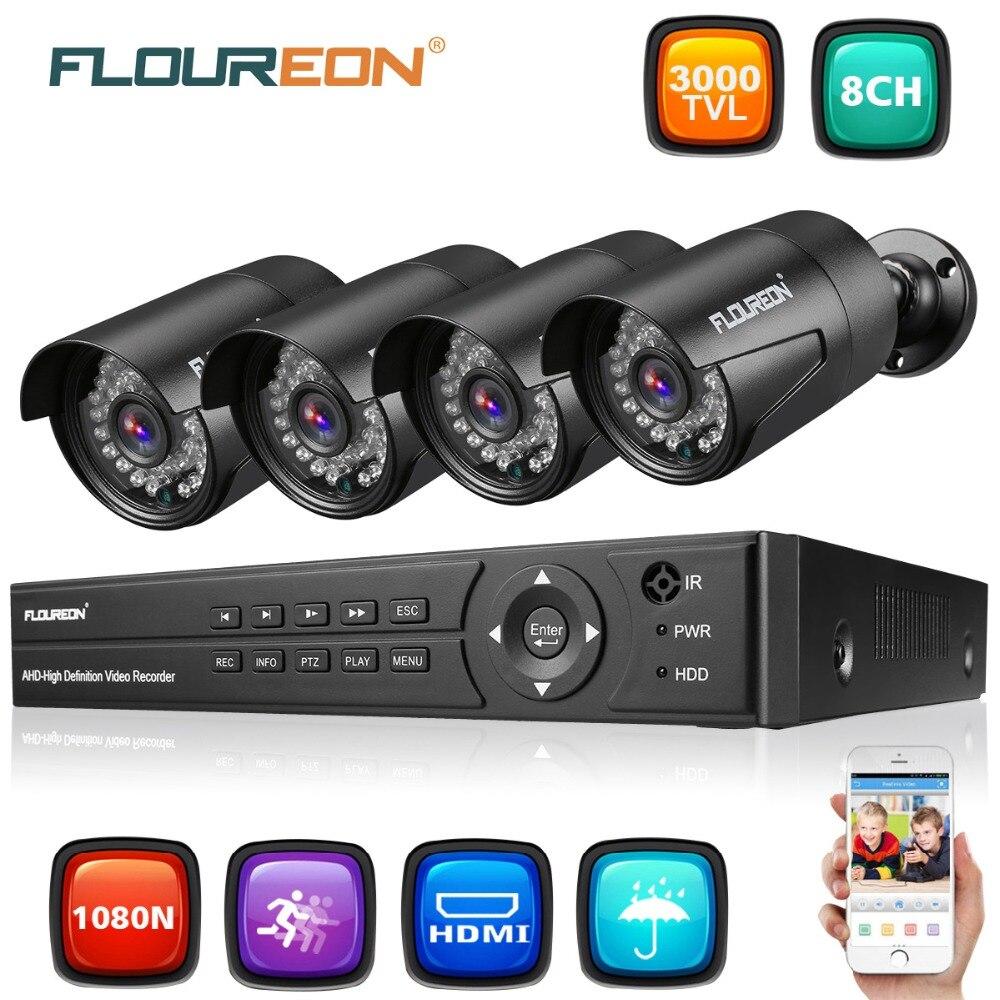 FLOUREON системы видеонаблюдения 8CH 5in1 1080N AHD DVR 4 шт. открытый 3000TVL 1080 P 2.0MP безопасности Камера Комплект ЕС