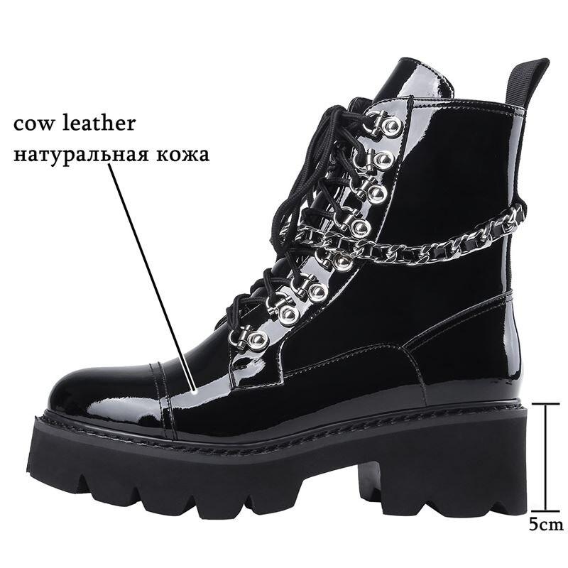 ALLBITEFO الطبيعي جلد طبيعي النساء الأحذية موتوسيكلات الأحذية الخريف الشتاء وسيم الفتيات حذاء من الجلد عالية الجودة-في أحذية الكاحل من أحذية على  مجموعة 2