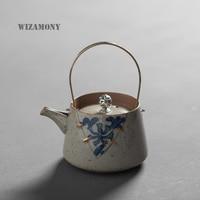 WIZAMONY Japanese Ancient tea set Glaze Celadon Zisha Ceramics Blue and white China Tea pot Porcelain yixing Clay Antique Teapot
