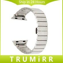 Qucik acier inoxydable bande + adaptateurs pour iwatch apple montre 38mm 42mm Poignet Bracelet Lien Bracelet Noir Or Rose argent