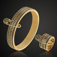 Zlxgirl Luxury brand Guangdong cubic zircon bangle & ring jewelry sets Ladies Bracelet bangle with ring couple jewelry sets