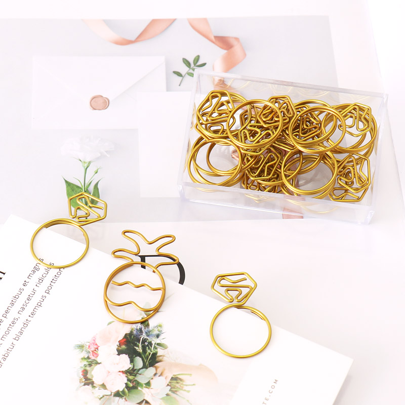 TUTU 18pcs/lot Pineapple Paper Clips Kawaii Stationery Clear Ring Binder Clips Photos Tickets Notes Letter Paper H0263