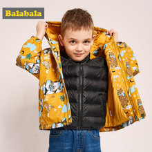 Balabala Peuter Jongens 2 in 1 Outdoor Jas met Afneembare Stand-up Kraag Puffer Jas met Slant Pocket Kids windjack(China)