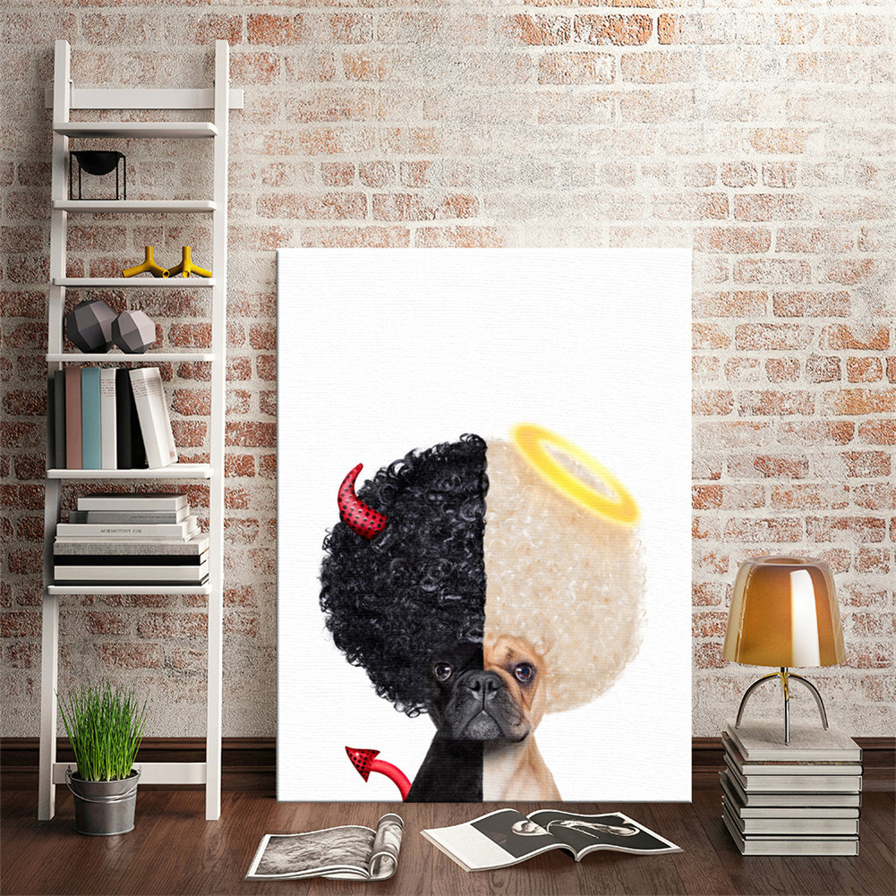 HTB1KTBOLSzqK1RjSZFjq6zlCFXaL Nordic Style Boxing Dog Canvas No Frame Art Print Painting Poster Funny Cartoon Animal Wall Pictures For Kids Room Decoration