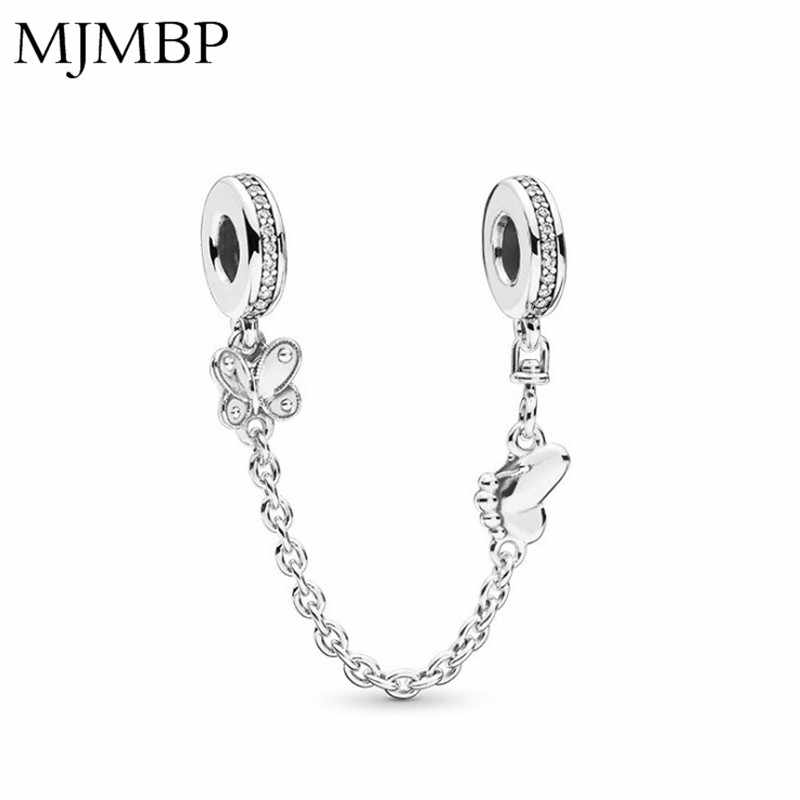 New Silver Butterfly DIY Fashion Safety Chain Jewelry Fit Pandoraa Bracelet & Necklaces Pendant Beads Jewelry Making Women Gifts