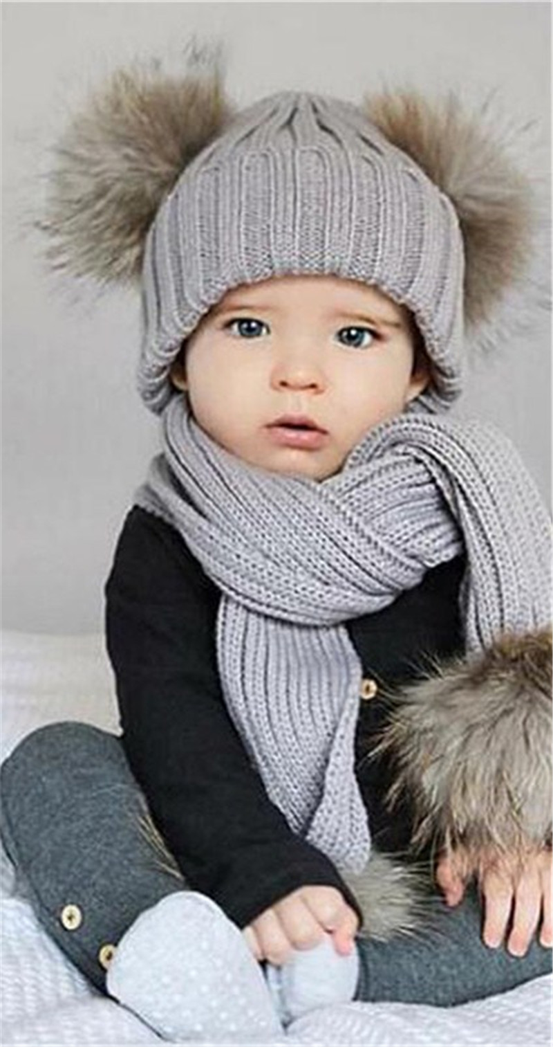 Cute Baby Newborn Infant Warm Winter Scarf Caps Sets Boys Girls Knitted Beanie Hat Crochet Stretch Patchwork Skullies Scarf Cap