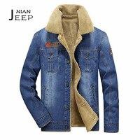 NIAN JI PU Cachemire Col amovible Denim manteau d'hiver 2017, Ciel Bleu mâle Épaisseur cachemira manteau, moto capa cargo hommes