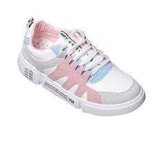Купить с кэшбэком Shoes woman 2019 thick bottom Sewing white platform sneakers tenis feminino student casual canvas women's shoes Women sneakers