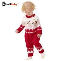 חורף תינוק סרוג בגדי חג המולד בייבי בנות Rompers סרבלי בני פעוט מצחיק בעלי החיים איל של השנה החדשה יילוד תלבושות