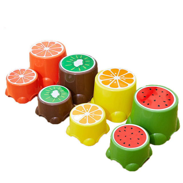 4 Colors Lovely Cartoon Stools Fruit Pattern Living Room Non-slip Bath Bench Child Stool Plastic PP Changing Shoes Stool 1