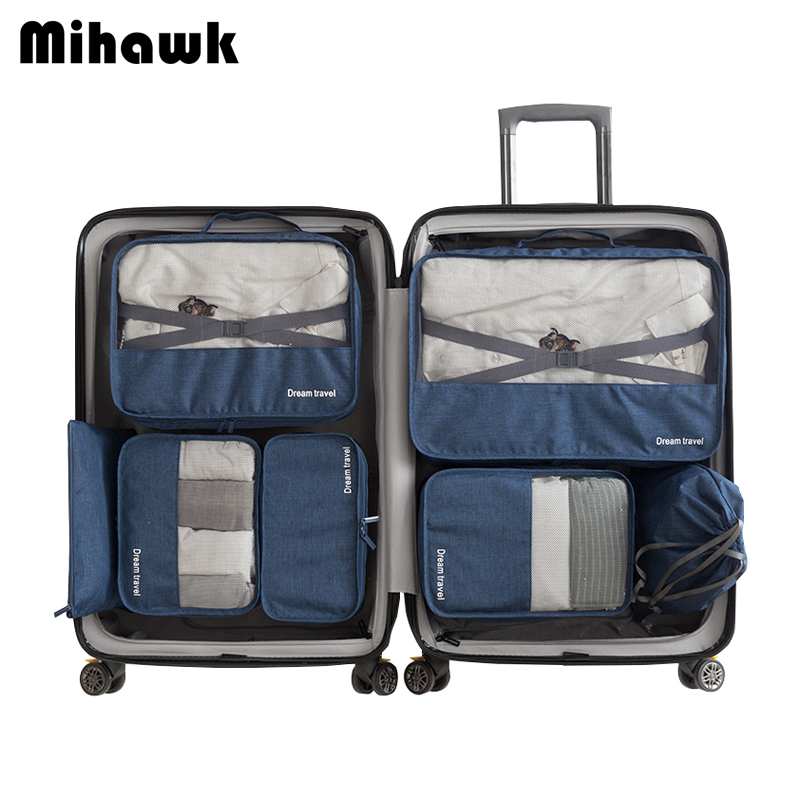 Mihawk 7 Pieces One Set Waterproof Travel Tote System Durable Packing Cube Unisex Clothing Sorting Large Capacity Accessories