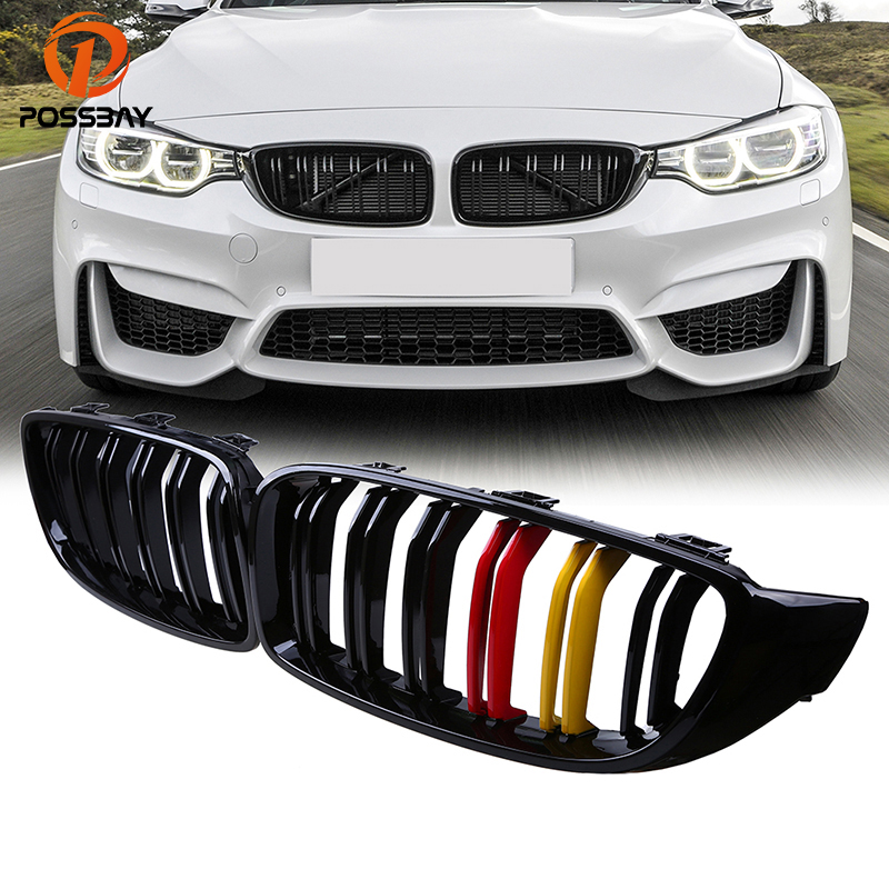 POSSBAY Front Grilles Double Slats Grills for BMW 4-Series F32 425d/428i/440i Coupe 2013-2016 German Flap Type Center Grille
