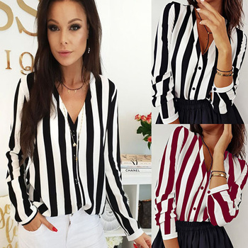 Women Casual Striped Blouse 6