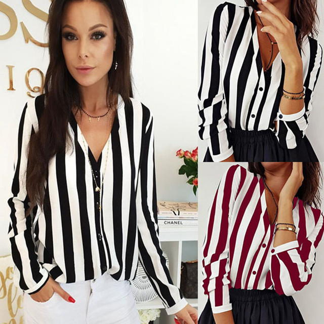 2019 New Blouse Women Casual Striped Top Shirts Blouses Female Loose Blusas Autumn Fall Casual Ladies Office Blouses Top Sexy 6