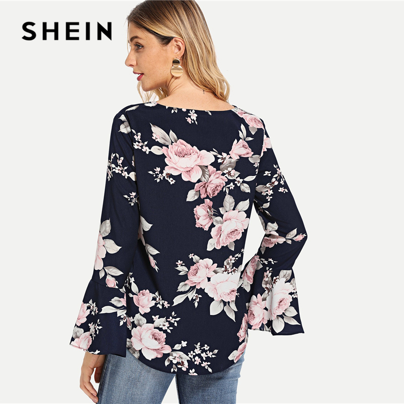 6e5d228d95 SHEIN Navy Floral Print Bell Sleeve Blouse Casual Elegant V Neck Flounce  Sleeve Blouses Women Autumn Bohemian Shirt Tops-in Blouses & Shirts from  Women's ...