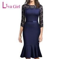 Liva Girl Women Autumn Winter Navy Lace Dresses Three Quarter Mermaid Midi Dress Plus Size Party