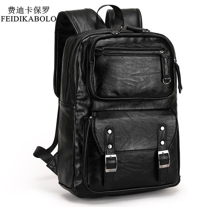 2018 homme cuir sac à dos hommes voyage sacs à dos Mochila Masculina noir hommes sac à dos pour ordinateur portable Mochilas Para Hombre homme