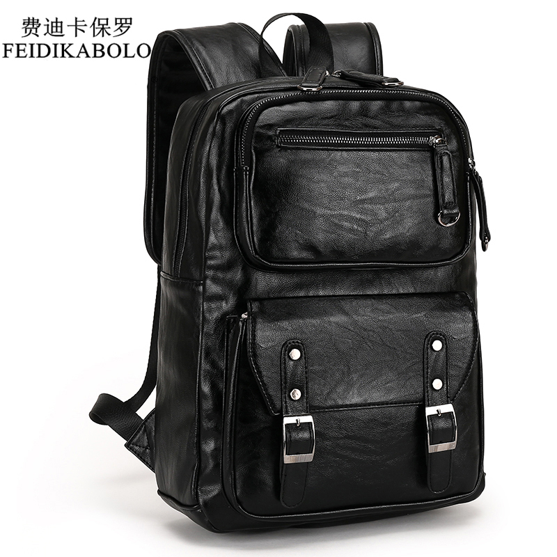 2018 Male Leather Backpack Men Travel Backpacks Mochila Masculina Black Men's Bookbag Laptop Backpack Mochilas Para Hombre Man