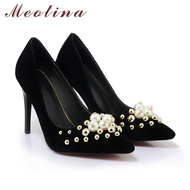 Meotina Women Shoes Stiletto High Heels Pumps Wedding Bridal Shoes Red Pearls Sexy High Heel Shoes Pointed Toe Pumps Big Size 42