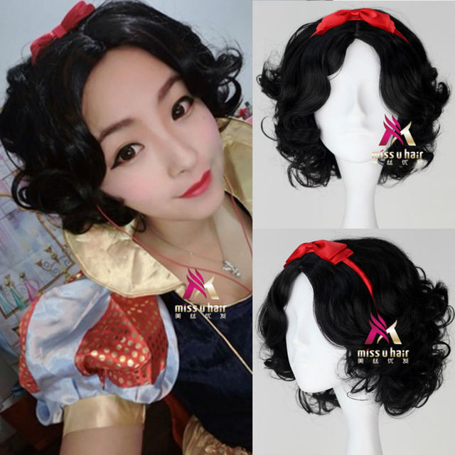 Halloween Snow white princess cosplay costume wig for women short black  curly wigs free shipping acaac78403ba
