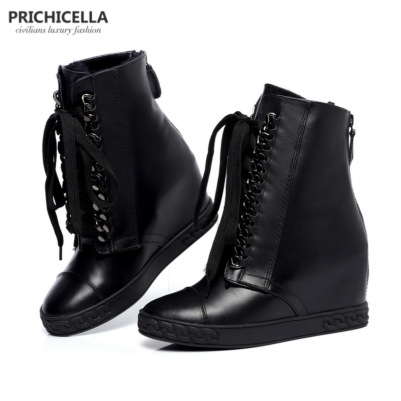 PRICHICELLA Silver chained lace up wedge ankle boots genuine leather winter boots for women