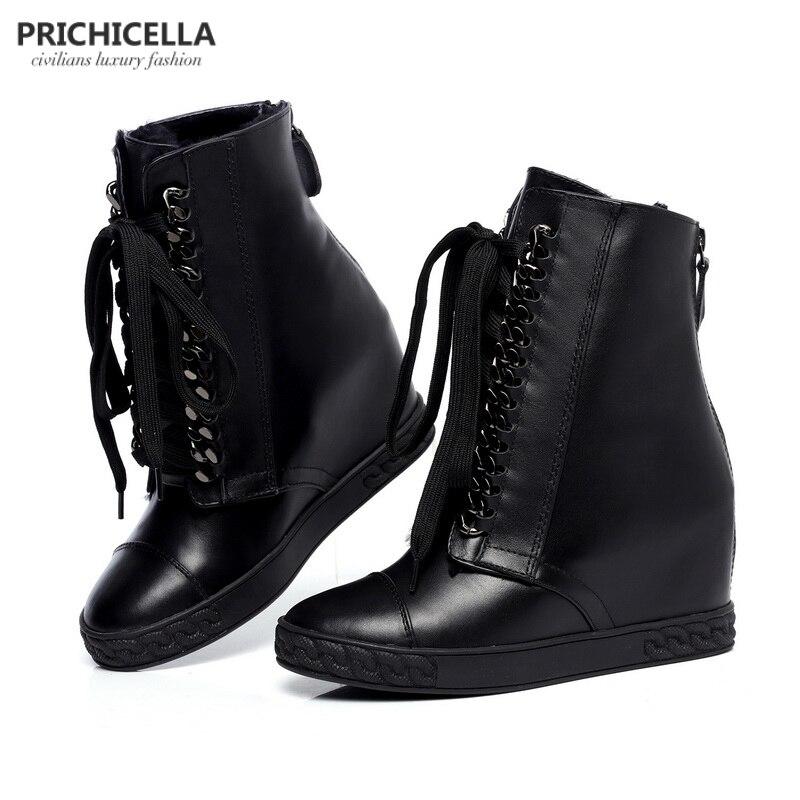 Prichicella 실버 체인 레이스 업 웨지 앵클 부츠 여성용 정품 가죽 겨울 부츠-에서앵클 부츠부터 신발 의  그룹 1