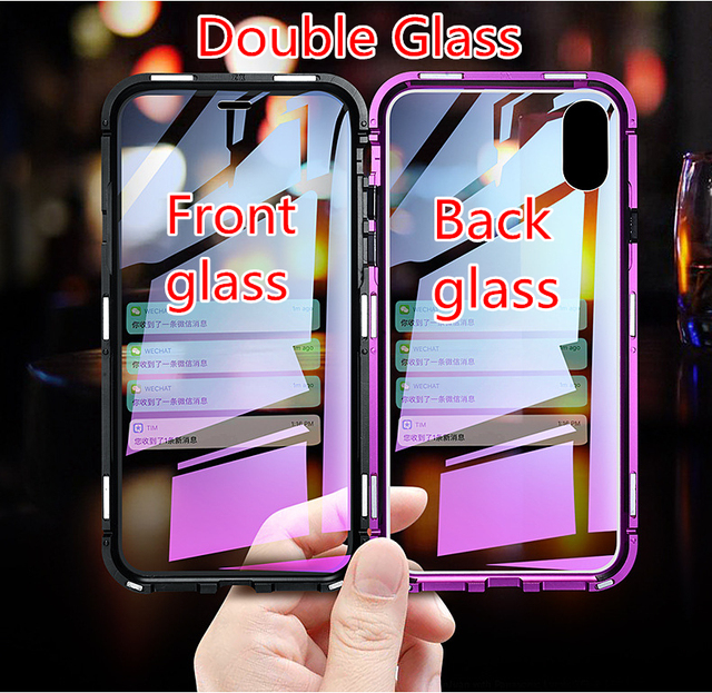 708e1bc2904 For Iphone X XS Max XR Magnetic Case 360 Front Back Double Sided 9H  Tempered Glass