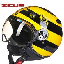 ZEUS de la motocicleta Vintage cascos caja de cartón medio 4 temporadas casco 210C de la motocicleta Retro casque cascos para la motocicleta