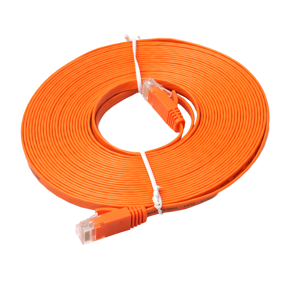 15M Orange Flat RJ45 Cable Ethernet CAT6 Internet Network Cord Patch Membawa sehingga 1000Mbps untuk PS4 Xbox PC Router Smart TV