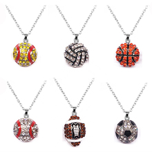 Wholesale 6 PCS Lot Pave Crystal Baseball Softball Team Sports Pendant Necklace Football Jewelry Rugby American