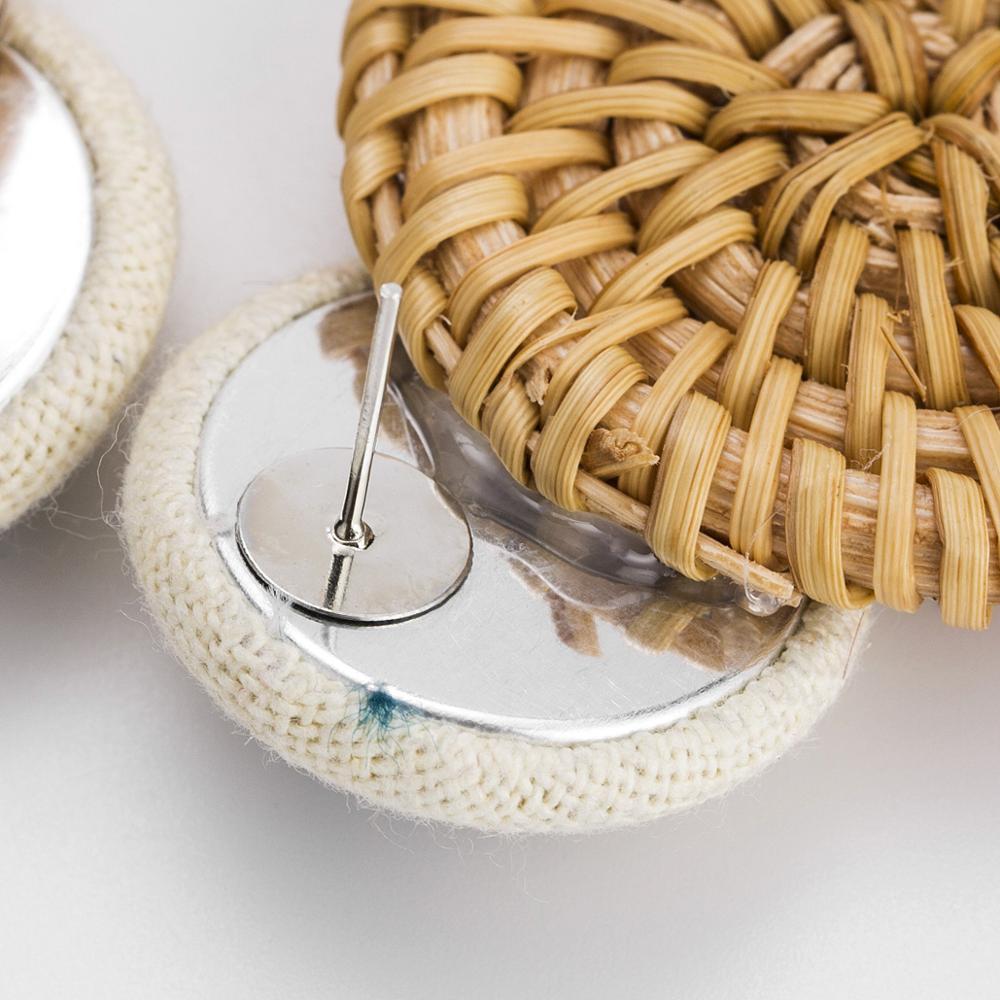 Ananas Handmade pineapple Drop Earrings For Women Wooden Straw Weave Rattan Earrings Round ball Wedding Trendy Dangle Jewelry in Drop Earrings from Jewelry Accessories