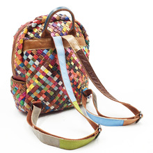 Luxury Multicolor Braided Genuine Leather Women's Backpack