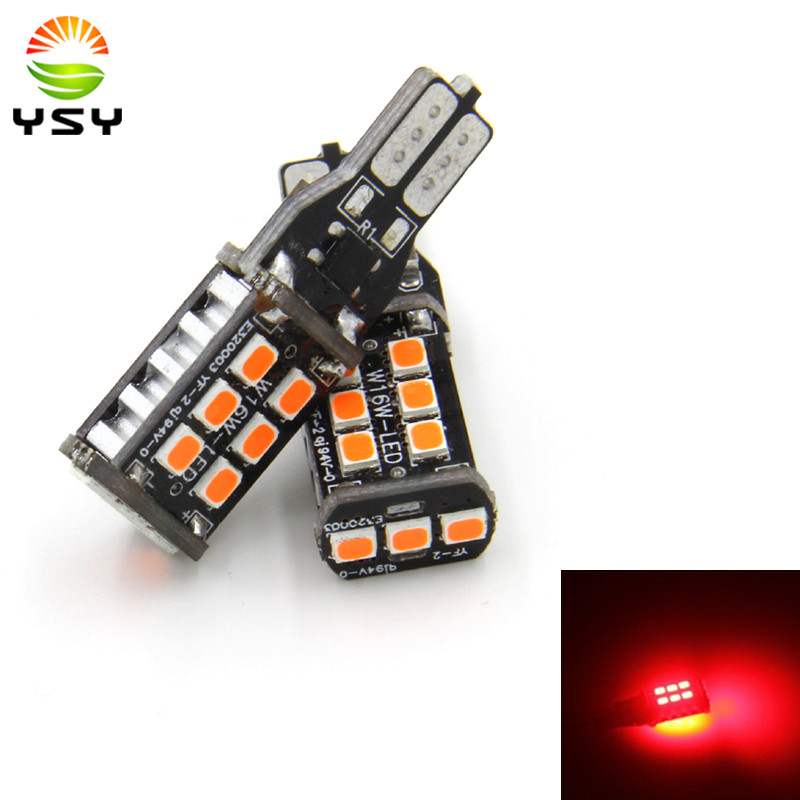 2x T15 15 SMD 2835 W16W LED Canbus No Error Car Tail Bulb Brake Light Auto Reverse Lamp 921 Led Bulb White Amber Red Lighting 2pcs brand new high quality superb error free 5050 smd 360 degrees led backup reverse light bulbs t15 for jeep grand cherokee