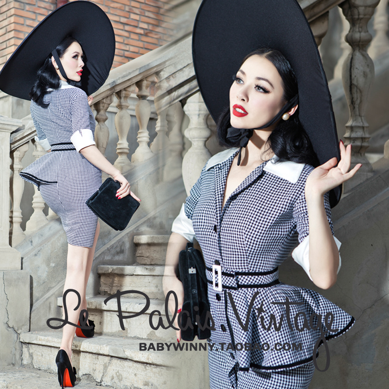 Le palais vintage limited edition black white houndstooth slim autumn winter one-piece dress - Vintage Palace store