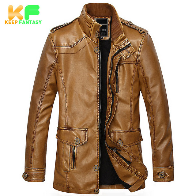 2016 Winter Stand Collar Warm Men's Leather Jacket Men Motorcycle Pilot Jackets Faux Fur Coats Male PU Leather Coat MLS1608