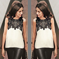 Summer Styles Sleeveless Blouse Lace Hollow Out Chffion Shirt Patchwork Fashion Women Tops Vintage Blusas B526