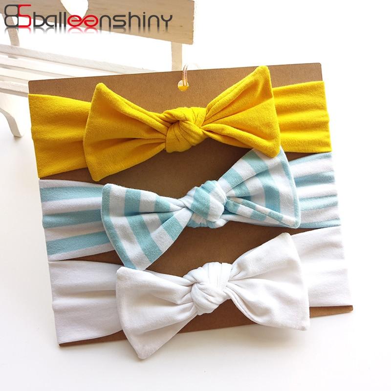 BalleenShiny 3PCS Bowknot Baby Girls Headband Hair Accessories Striped Wave Point Print Hairband Child Kids Princess Headwear
