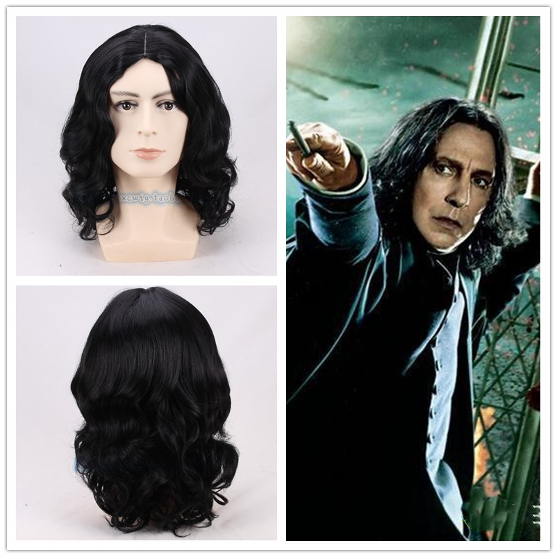 35cm Movie Severus Snape Black Wig Cosplay Professor Snape Curly Wig Halloween Role Play Hair Costumes + Wig Cap