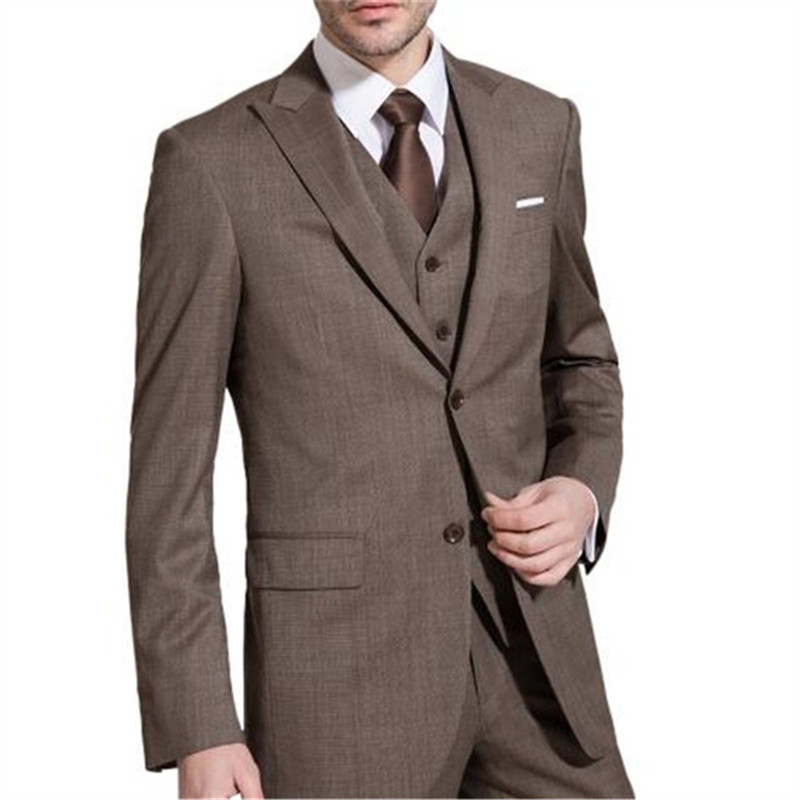 Coffee Brown Suits For Terno Men Suits 3 Pieces (Jacket+Pant+Vent+Tie) Two Buttons Groom Terno Masculino Custom Made Blazer