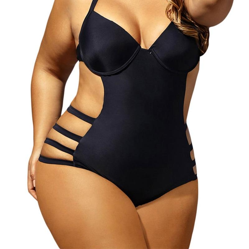 3XL Grande Big Plus Size Swimwear Para Mulheres Sexy One Piece Swimsuit 2019 Sexy Bandagem Feminino Retro Maiô Praia bodysuit