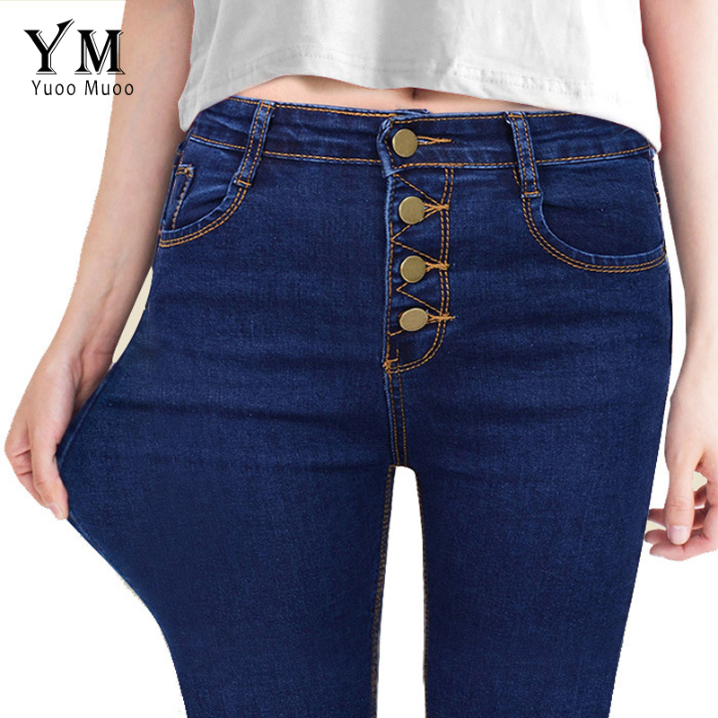 YuooMuoo Casual Spring Autumn Women High Waist 4 Buttons Elastic Denim Pencil Pants Female Slim Skinny Jeans Long Trousers 2017 spring autumn women plus size elastic waist jeans slim fashion high waist black casual office stretch pencil denim pants