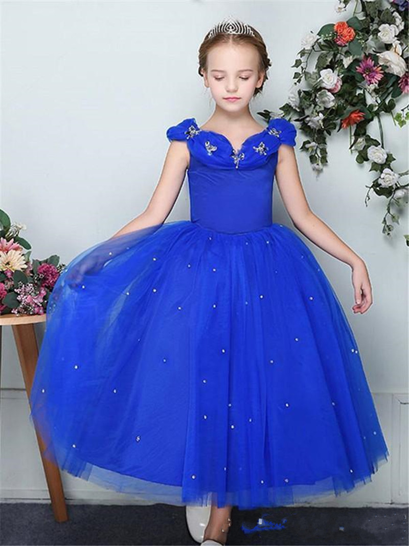 New Long Royal Blue Tulle Flower Girl Dress with Sequins Puffy Princess Dress Zipper Back Ankle-Length Kids Formal Wears VestidoNew Long Royal Blue Tulle Flower Girl Dress with Sequins Puffy Princess Dress Zipper Back Ankle-Length Kids Formal Wears Vestido