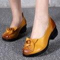 Flores de piel de Vaca de Las Mujeres Zapatos de Tacón Alto de alta Calidad 2017 superventas Original Hecho A Mano de Cuero Zapatos de Las Mujeres Zapatos de Las Nuevas Mujeres bombas