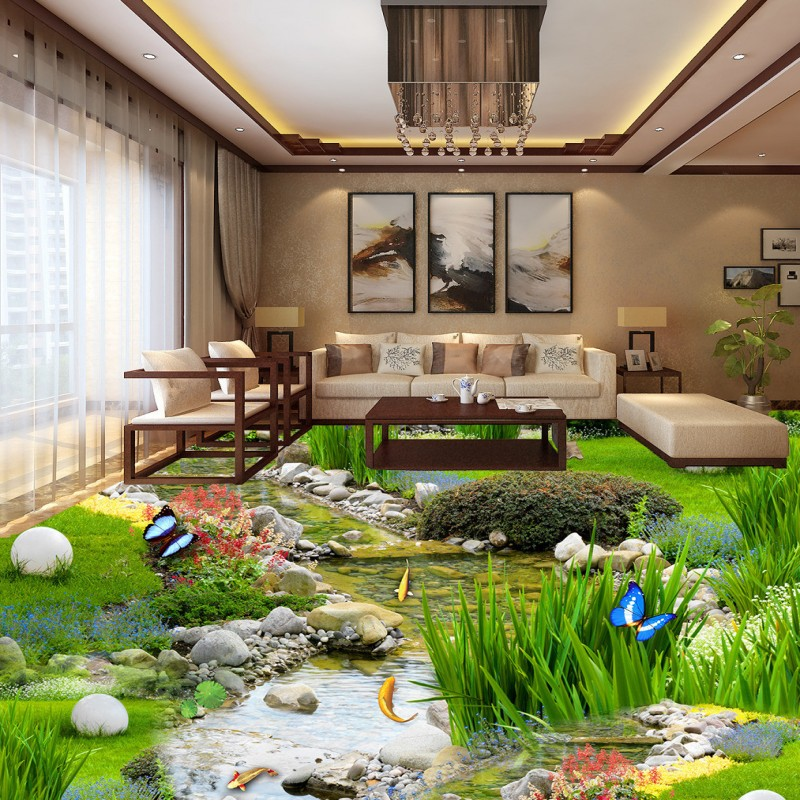 Free Shipping Park Landscape Grassland Water Carp 3D Floor Painting Non  Slip Bedroom Living Room Bathroom Lobby Flooring Mural In Wallpapers From  Home ...