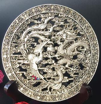 Old QingDyansty silver Hollow dragon&phoneix statue,Lucky auspicious,with mark,best collection&adornment,free shipping