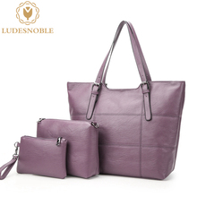 LUDESNOBLE Luxury Handbags Women Bags Designer Shoulder Bags Women Leather Handbags Composite Bag Set Gold Bolsas