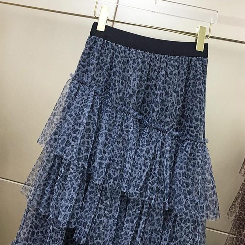 Surmiitro 2019 Spring Summer Leopard Tulle Skirt Women Korean Long Maxi High Waist Sun High Waist A-line Pleated Skirt Female 2