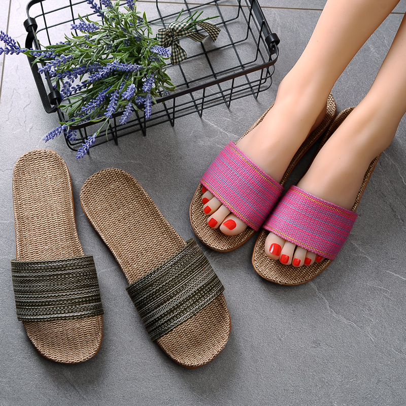 Suihyung Summer Women Linen Slippers New Color Stripe Belt Indoor Shoes Casual Home Open Toe Slippers Lovers Casual Flax Slides