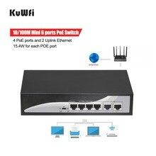 KuWfi, interruptor de red POE de 48V, 6 puertos, interruptor de 10/100Mbps con 4 puertos POE y 2 Ethernet de enlace ascendente para AP/cámaras