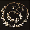 Nueva Perla de Imitación Mujeres Collares y Pendientes y Pulseras de Plata/Chapado En Oro Chian Moda Joyas Collar de Múltiples Capas
